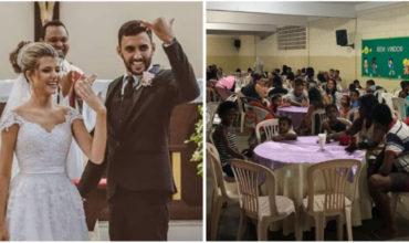 Mladomanželia namiesto svadobnej hostiny urobili hostinu pre 160 chudobných